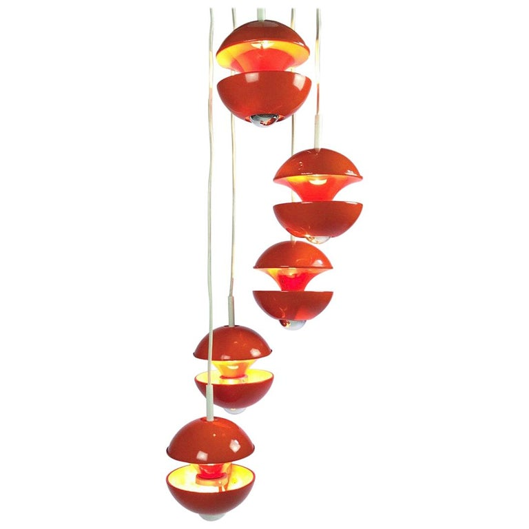 Space age chandelier by Klaus Hempel for Kaiser Leuchten, Germany 1972. For Sale