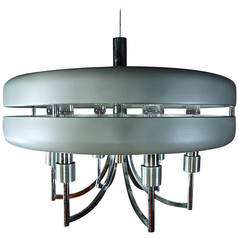 Space Age Chrome and Brushed Alloy UFO Pendant Lamp, 1970s, Italy For Sale