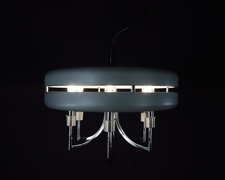 Space Age Chrome and Brushed Alloy UFO Pendant Lamp, 1970s, Italy For Sale 4