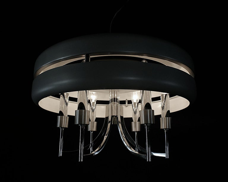 Space Age Chrome and Brushed Alloy UFO Pendant Lamp, 1970s, Italy For Sale 5
