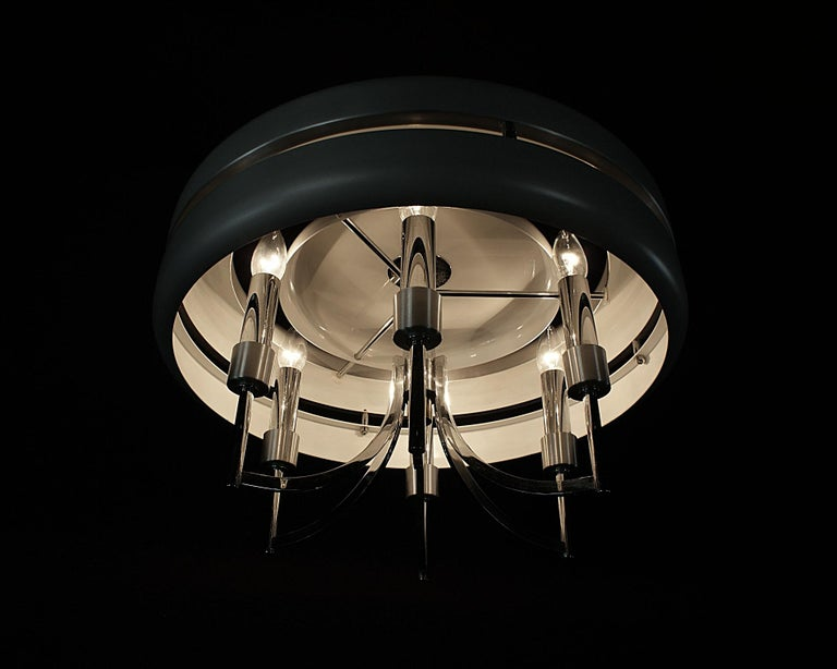 Space Age Chrome and Brushed Alloy UFO Pendant Lamp, 1970s, Italy For Sale 6