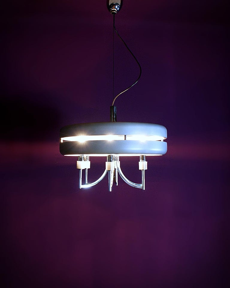 Space Age Chrome and Brushed Alloy UFO Pendant Lamp, 1970s, Italy For Sale 7