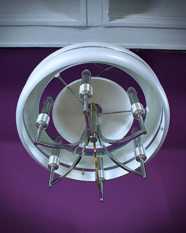 20th Century Space Age Chrome and Brushed Alloy UFO Pendant Lamp, 1970s, Italy For Sale