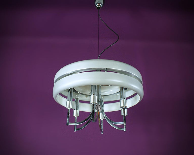 Aluminum Space Age Chrome and Brushed Alloy UFO Pendant Lamp, 1970s, Italy For Sale