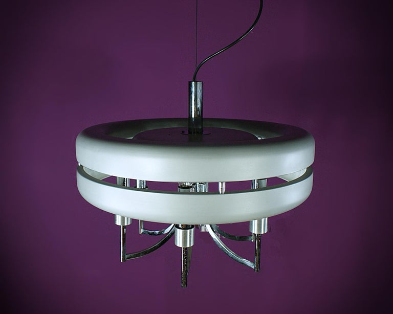 Space Age Chrome and Brushed Alloy UFO Pendant Lamp, 1970s, Italy For Sale 3