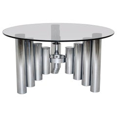 Space Age Chromed Glass Vintage Coffee Table, Manhattan, 1960s
