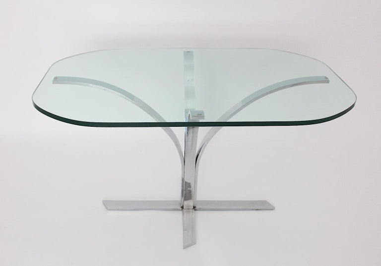 Space Age Chromed Metal Vintage Dining Table or Writing Table, 1960s, Germany In Good Condition For Sale In Vienna, AT
