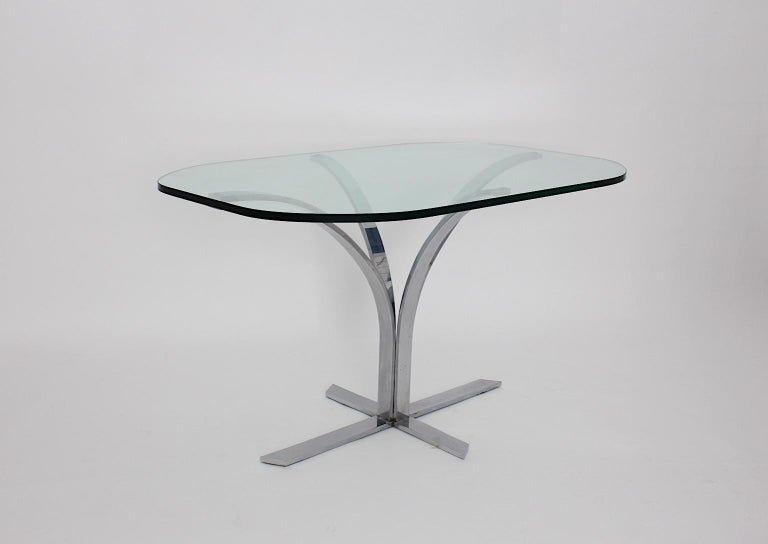 Mid-20th Century Space Age Chromed Metal Vintage Dining Table or Writing Table, 1960s, Germany For Sale