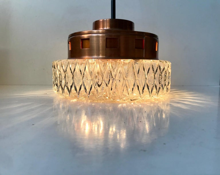 Swedish Space Age Copper & Crystal Ceiling Lamp from Orrefors, 1960s For Sale