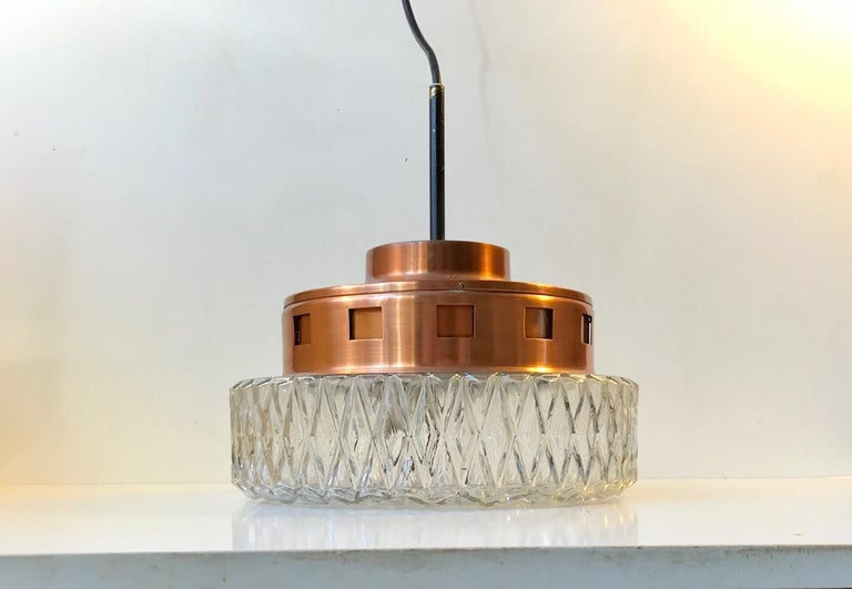 Space Age Copper & Crystal Ceiling Lamp from Orrefors, 1960s In Good Condition For Sale In Esbjerg, DK