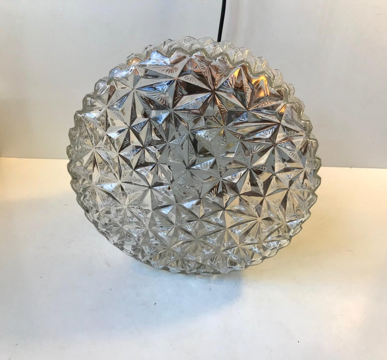 Mid-20th Century Space Age Copper & Crystal Ceiling Lamp from Orrefors, 1960s For Sale