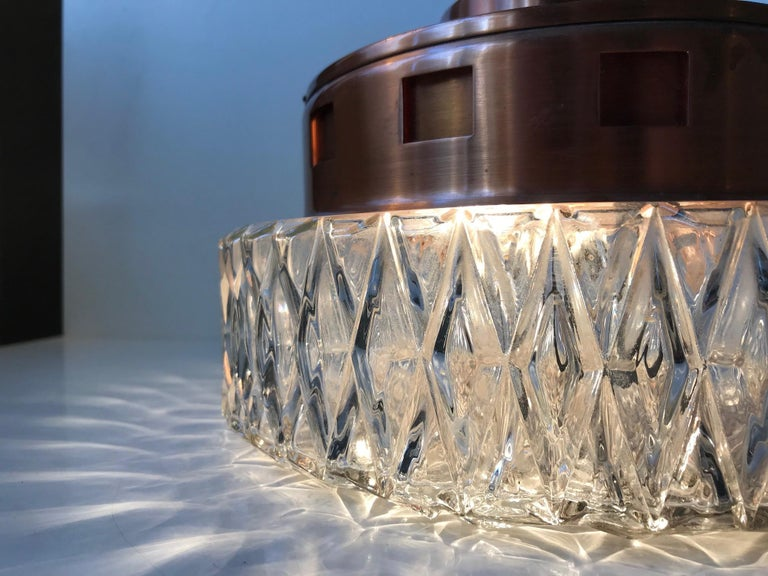 Space Age Copper & Crystal Ceiling Lamp from Orrefors, 1960s For Sale 1