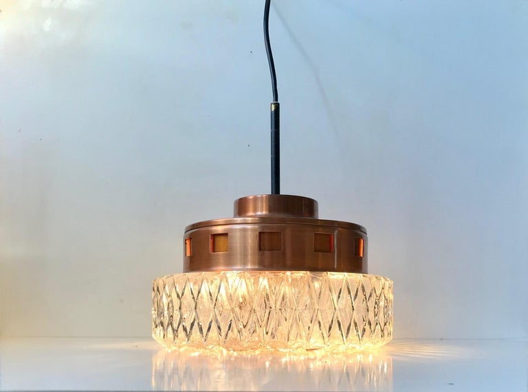 Space Age Copper & Crystal Ceiling Lamp from Orrefors, 1960s For Sale 2
