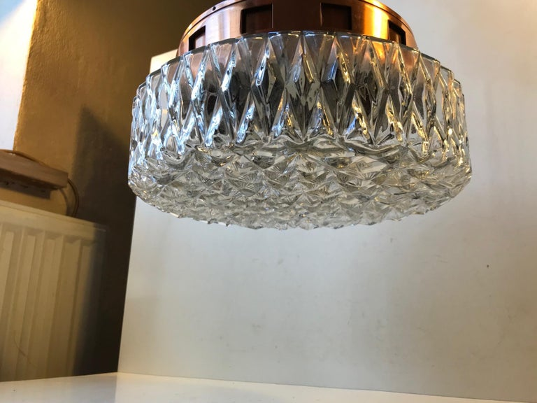 Space Age Copper & Crystal Ceiling Lamp from Orrefors, 1960s For Sale 3