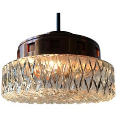 Space Age Copper & Crystal Ceiling Lamp from Orrefors, 1960s