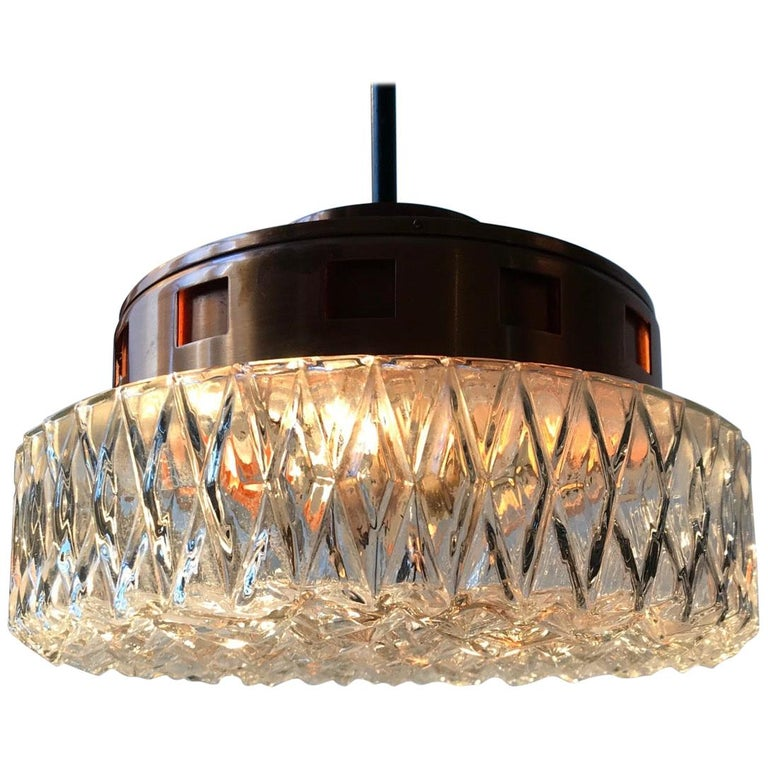 Space Age Copper & Crystal Ceiling Lamp from Orrefors, 1960s For Sale