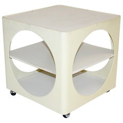 Space Age Cream White Vintage Cube Bar Cart or Side Table 1960s Germany