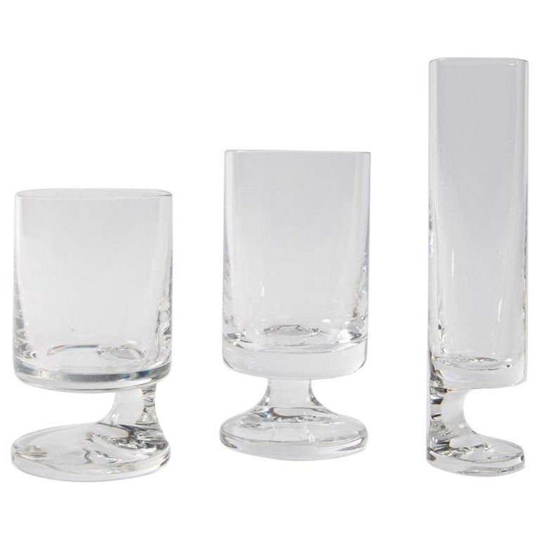 Space Age Crystal Seventies Drinking Glasses by Italian Designer Joe Colombo For Sale