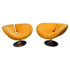 Space Age French Couple of Armchairs Orange and Acier, 60s