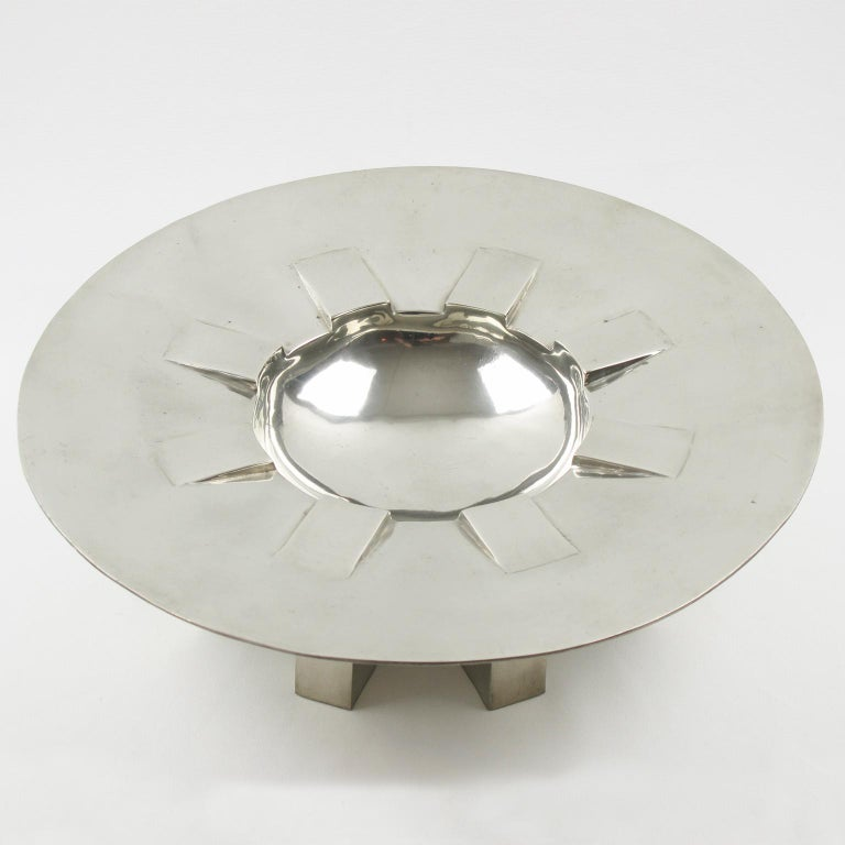 Modern Space Age Futurist Pewter Centerpiece Bowl by For Interieur France For Sale