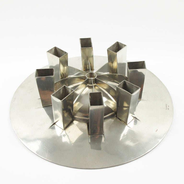 French Space Age Futurist Pewter Centerpiece Bowl by For Interieur France For Sale