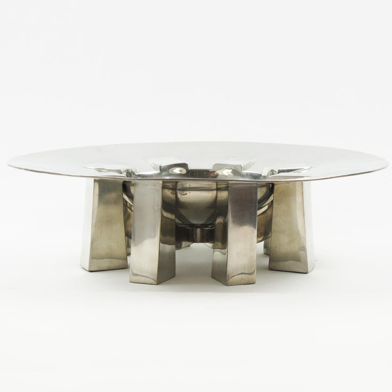 20th Century Space Age Futurist Pewter Centerpiece Bowl by For Interieur France For Sale