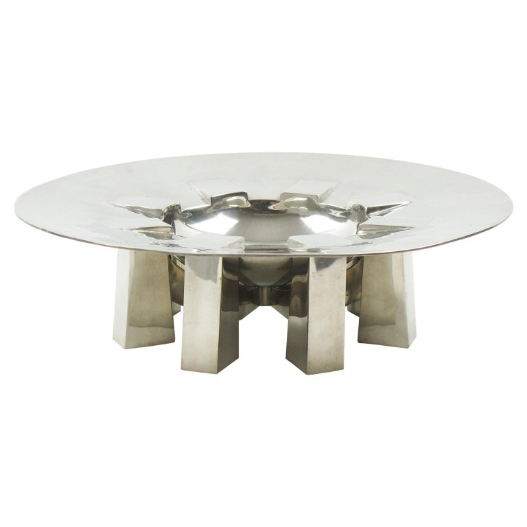 Space Age Futurist Pewter Centerpiece Bowl by For Interieur France For Sale