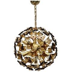Space Age Golden Vintage Glass Sputnik Chandelier Style Fontana Arte 1960s Italy