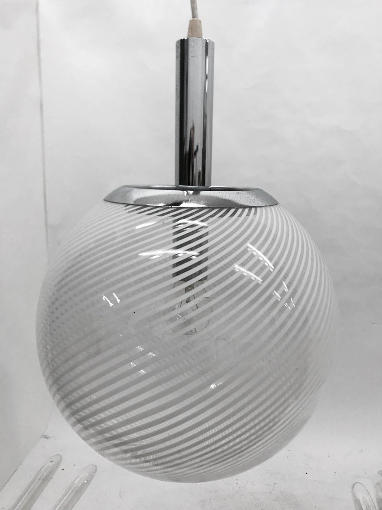 Space Age Italian Glass and Chrome Pendant by Venini, circa 1965 For Sale 6