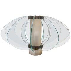 Space Age Italian Marble Base Art Glass Table Lamp, circa 1960