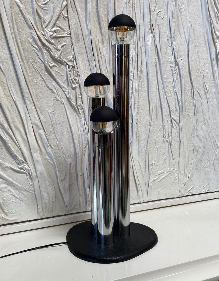 Chrome Space Age Lamp, Italy, Reggiani Illuminazione, 1970s For Sale