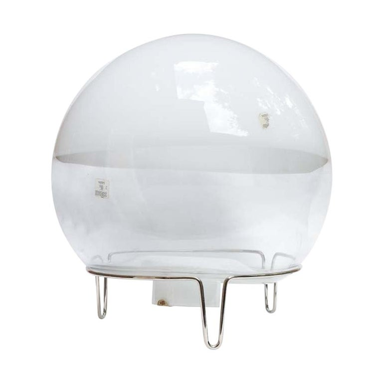Space Age Lamp White and Clear Blown Glass Shade Italian Design Mangiarotti For Sale