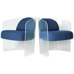 Space Age Lucite Barrel Lounge Chairs