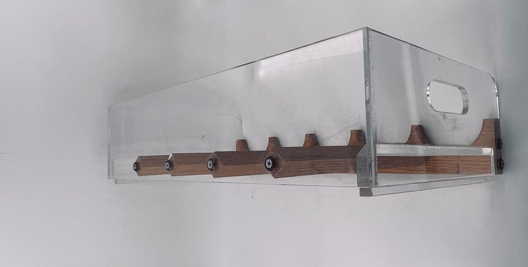 Space Age Lucite & Oak 20 Bottle Capacity Stackable Wine Rack In Good Condition For Sale In San Diego, CA