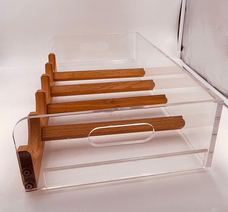 20th Century Space Age Lucite & Oak 20 Bottle Capacity Stackable Wine Rack For Sale