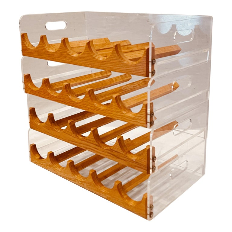 Space Age Lucite & Oak 20 Bottle Capacity Stackable Wine Rack For Sale