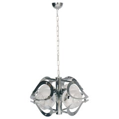 Space Age Mazzega Chandelier in Chromed Steel and Murano Glass, 4-Light