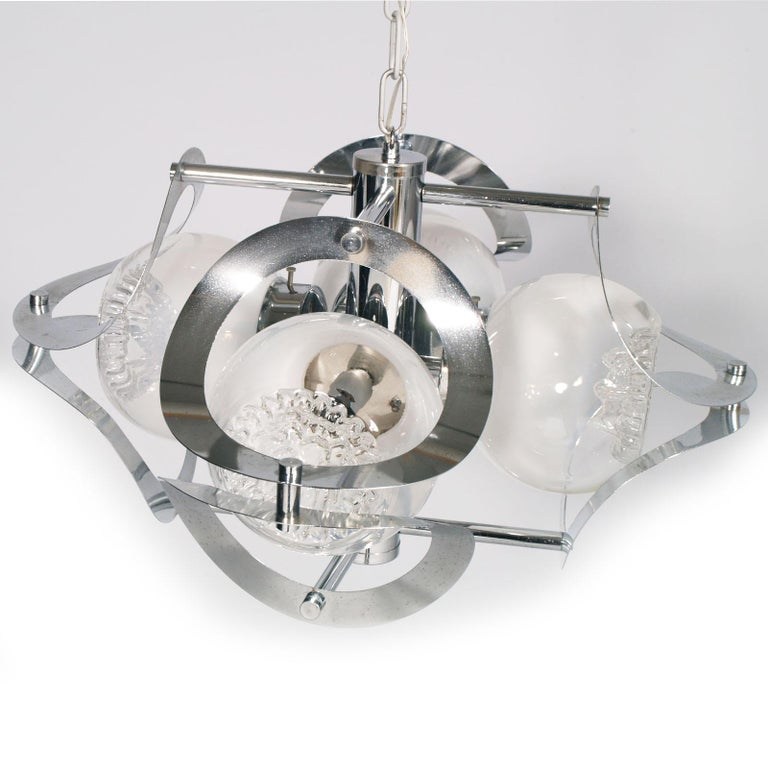 Modern Space Age Mazzega Chandelier in Chromed Steel and Murano Glass, 4-Light For Sale