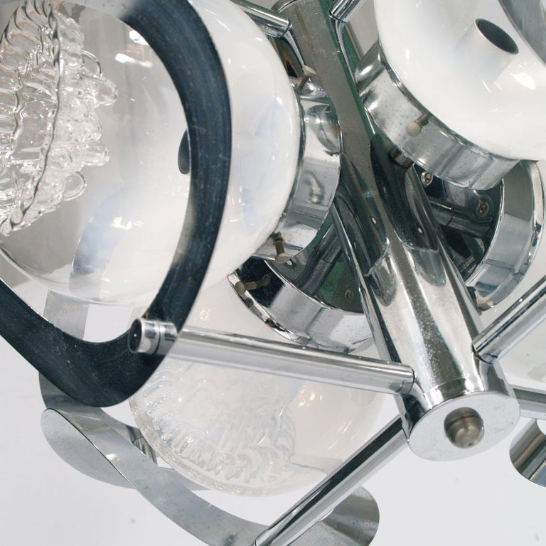 Galvanized Space Age Mazzega Chandelier in Chromed Steel and Murano Glass, 4-Light For Sale