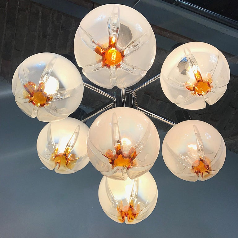 Italian Space Age Mazzega Sputnik Chandelier, Textured Murano Glass, 1970s, Italy For Sale