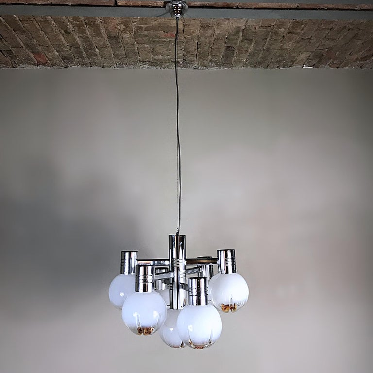 Metal Space Age Mazzega Sputnik Chandelier, Textured Murano Glass, 1970s, Italy For Sale