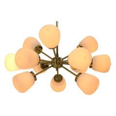 Space Age Midcentury Brass Pendant, Sputnik / Atom, 1970s