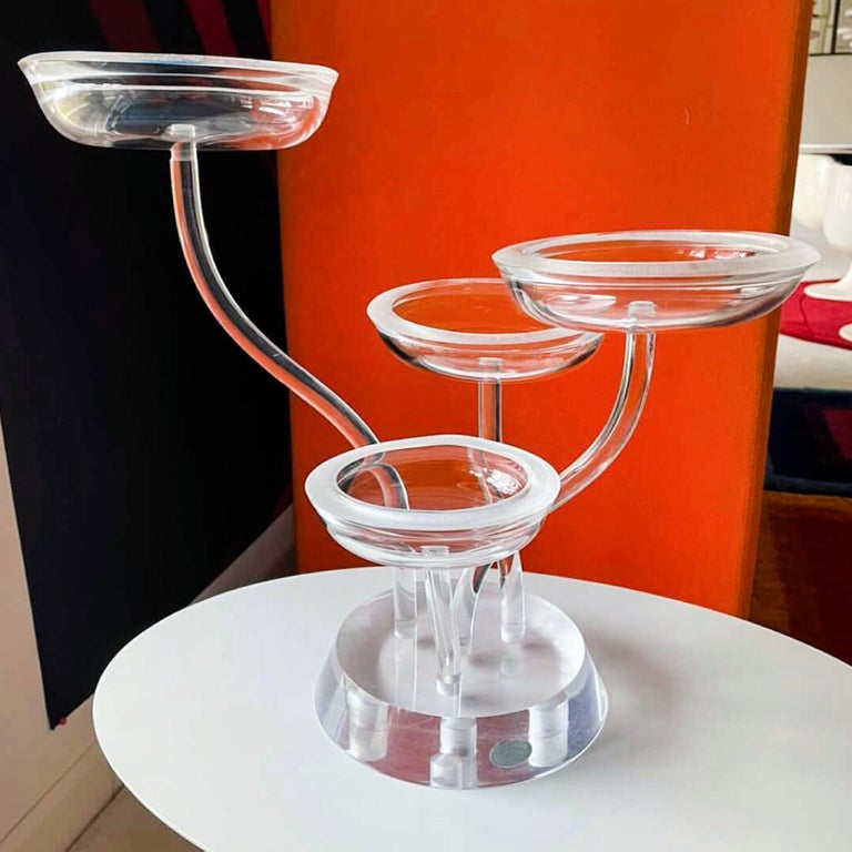 Mid-Century Modern Space Age Mod Astrolite Lucite Epergne Sculpture Ritts Co, Modular Centerpiece For Sale