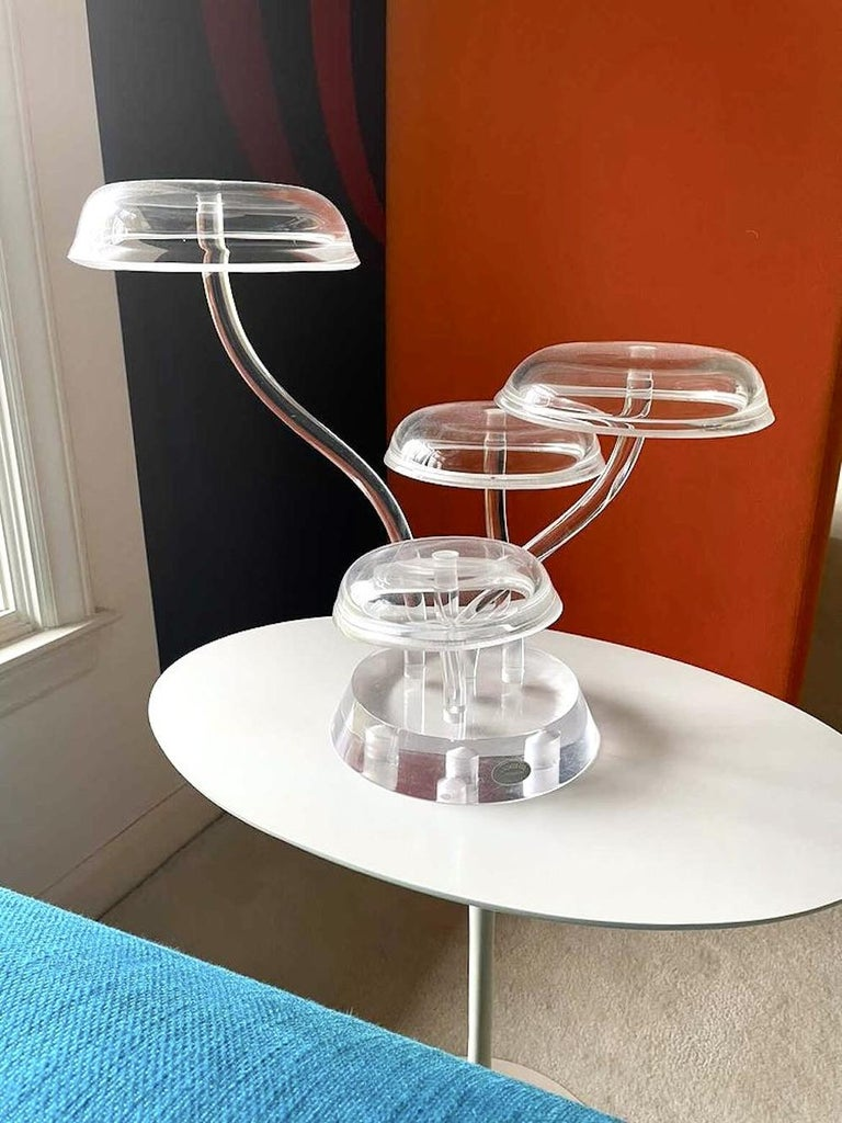 American Space Age Mod Astrolite Lucite Epergne Sculpture Ritts Co, Modular Centerpiece For Sale