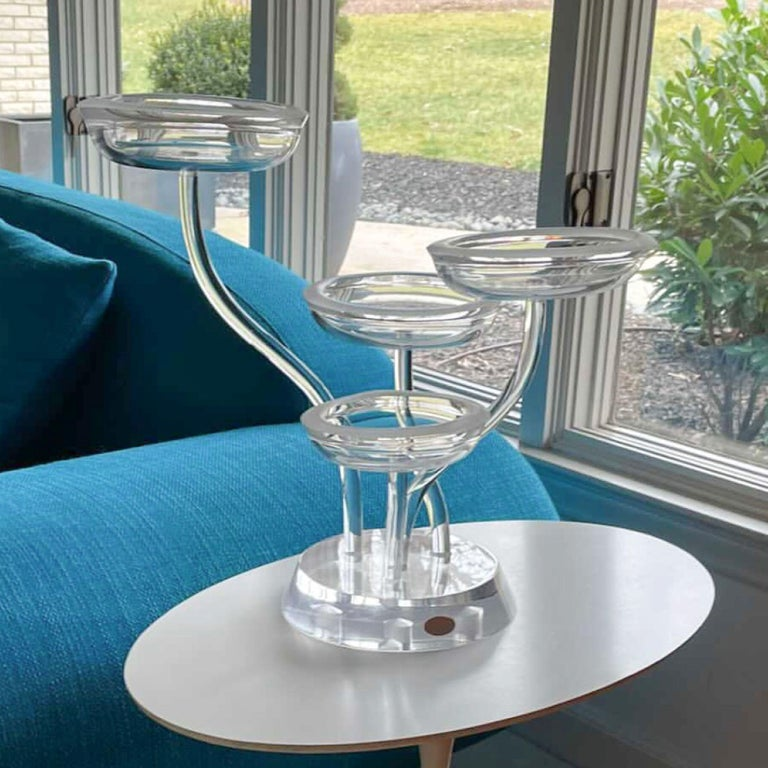 20th Century Space Age Mod Astrolite Lucite Epergne Sculpture Ritts Co, Modular Centerpiece For Sale