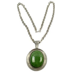Space Age Modernist Pewter Necklace Green Ceramic Pendant