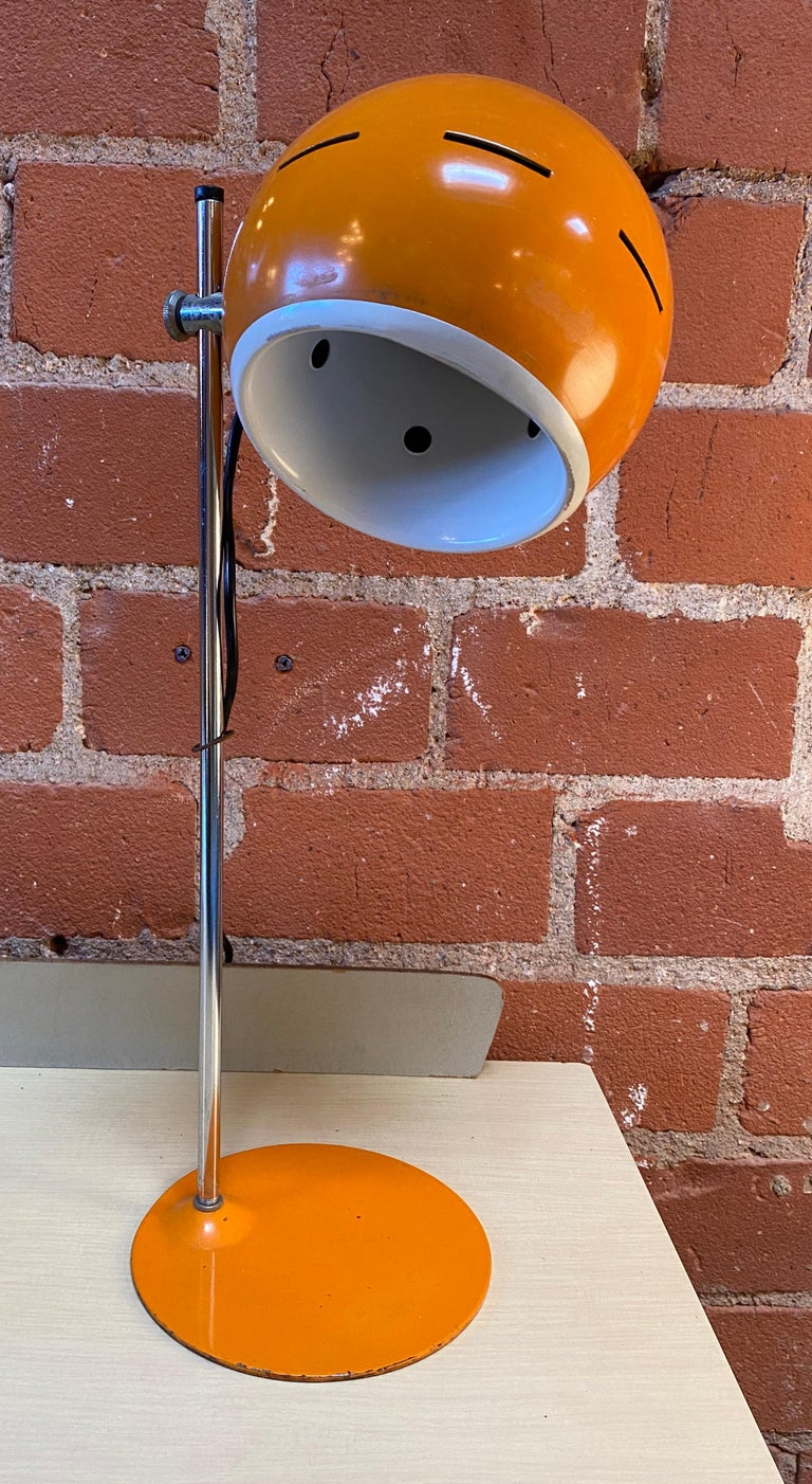 Space Age orange table lamp, Italy, 1960s.