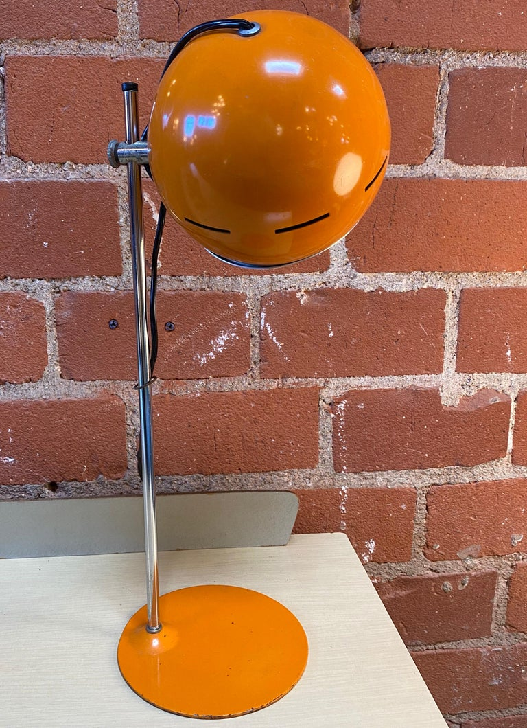 Mid-Century Modern Space Age Orange Table Lamp, Italy, 1960s For Sale