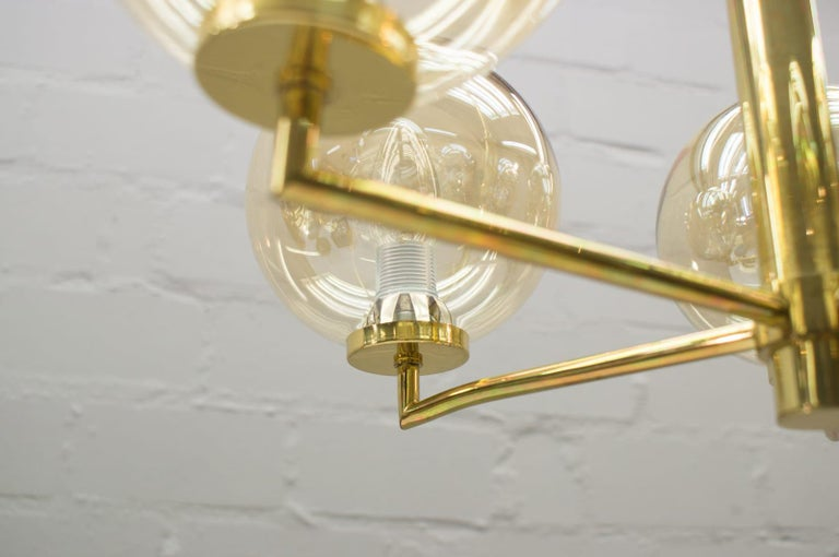 Space Age Orbit Ceiling Lamp with Five Amber Glass Balls, 1960s For Sale 4