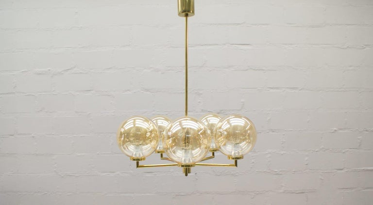 Swedish Space Age Orbit Ceiling Lamp with Five Amber Glass Balls, 1960s For Sale